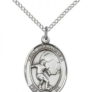 Christopher Soccer Medal Medium - Sterling Silver (#86161)