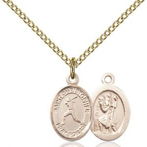 Christopher Softball Medal Charm 14 Karat Gold Filled 86318