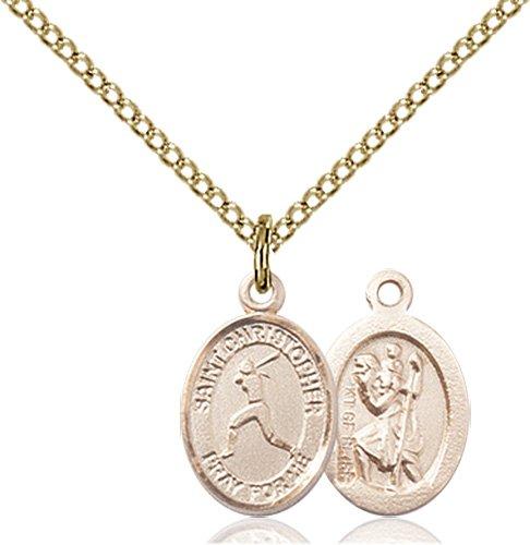 Christopher Softball Medal Charm 14 Karat Gold Filled 86318