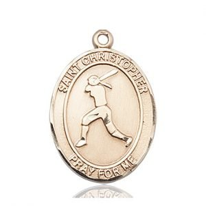 Christopher Softball Medal Large - 14 Karat Gold (#85694)
