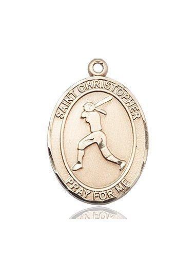 Christopher Softball Medal Large - 14 Karat Gold (#85694)