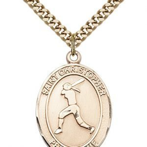 Christopher Softball Medal Large 14 Karat Gold Filled 85692