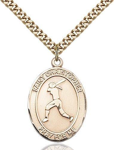Christopher Softball Medal Large 14 Karat Gold Filled 85692