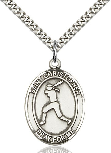 Christopher Softball Medal Large - Sterling Silver (#85695)