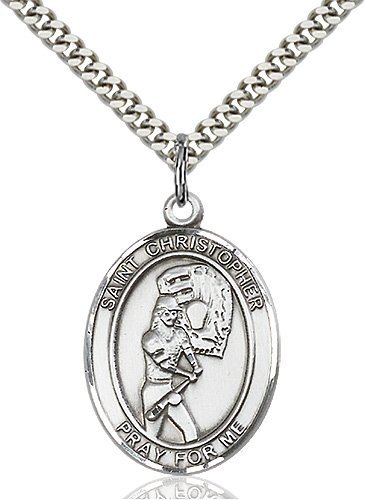Christopher Softball Medal Large Sterling Silver 85869