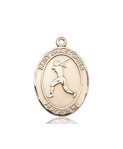 Christopher Softball Medal Medium 14 Karat Gold 85968
