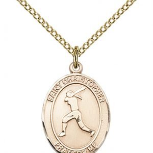 Christopher Softball Medal Medium - 14 Karat Gold Filled (#85966)