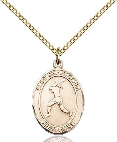Christopher Softball Medal Medium - 14 Karat Gold Filled (#85966)