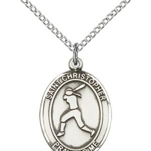 Christopher Softball Medal Medium Sterling Silver 85969