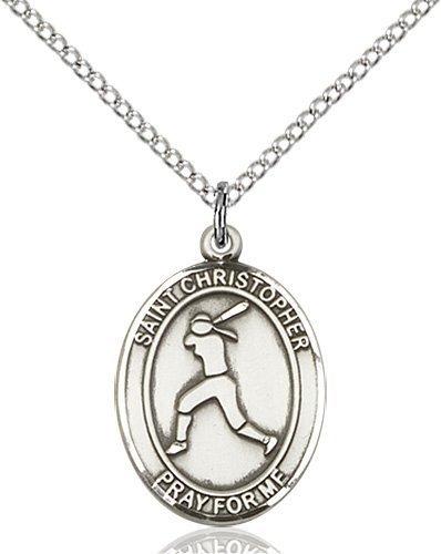 Christopher Softball Medal Medium Sterling Silver 85969