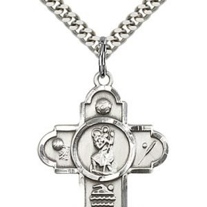 Christopher Sports Medal Large - Sterling Silver (#85646)