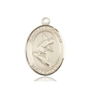 Christopher Surfing Medal Medium 14 Karat Gold 86096