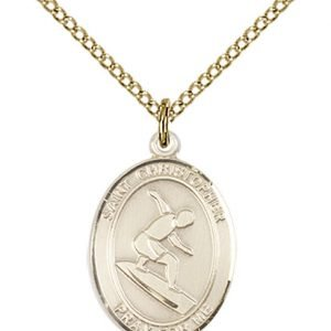Christopher Surfing Medal Medium 14 Karat Gold Filled 86094