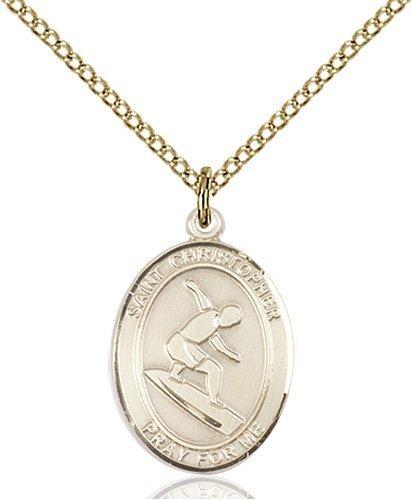 Christopher Surfing Medal Medium 14 Karat Gold Filled 86094