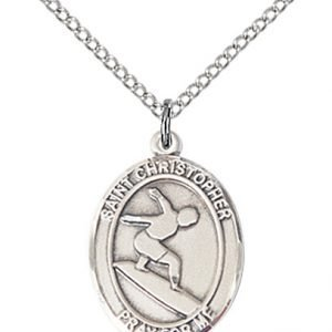 Christopher Surfing Medal Medium Sterling Silver 86097