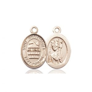 Christopher Swimming Medal Charm 14 Karat Gold 86352