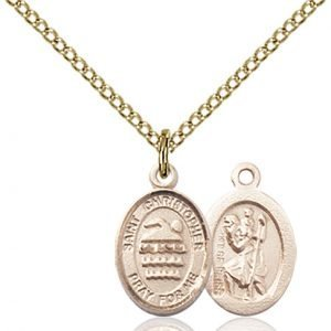 Christopher Swimming Medal Charm 14 Karat Gold Filled 86350
