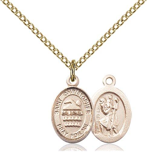 Christopher Swimming Medal Charm 14 Karat Gold Filled 86350