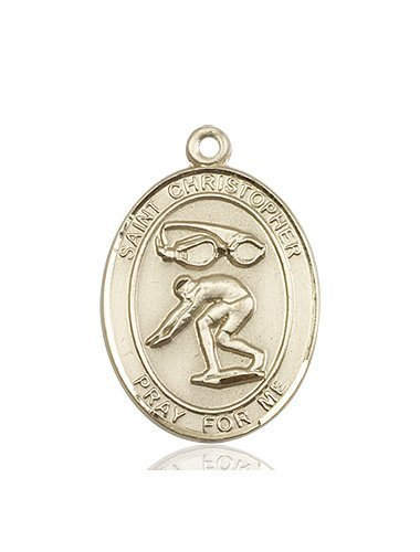 Christopher Swimming Medal Large 14 Karat Gold 85884