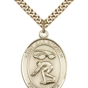 Christopher Swimming Medal Large 14 Karat Gold Filled 85882