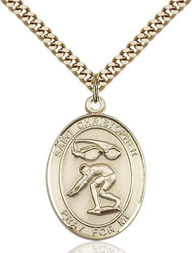 Christopher Swimming Medal Large 14 Karat Gold Filled 85882