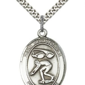Christopher Swimming Medal Large - Sterling Silver (#85885)