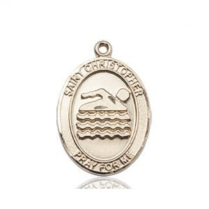 Christopher Swimming Medal Medium 14 Karat Gold 86000
