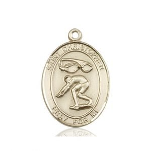 Christopher Swimming Medal Medium 14 Karat Gold 86192