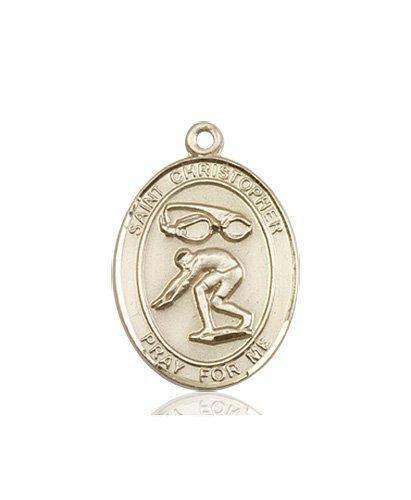 Christopher Swimming Medal Medium 14 Karat Gold 86192