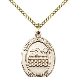 Christopher Swimming Medal Medium - 14 Karat Gold Filled (#85998)