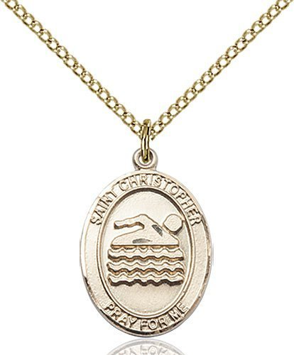 Christopher Swimming Medal Medium - 14 Karat Gold Filled (#85998)