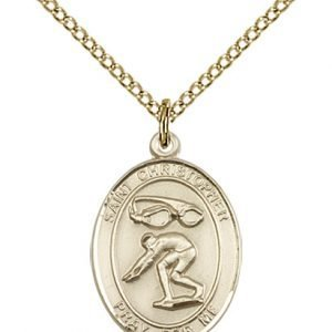 Christopher Swimming Medal Medium 14 Karat Gold Filled 86190