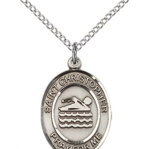 Christopher Swimming Medal Medium - Sterling Silver (#86001)