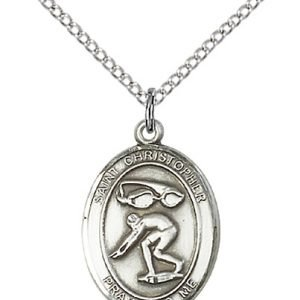 Christopher Swimming Medal Medium Sterling Silver 86193