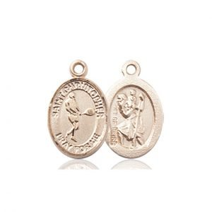Christopher Tennis Medal Charm 14 Karat Gold 86348