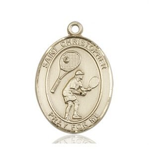 Christopher Tennis Medal Large 14 Karat Gold 85860