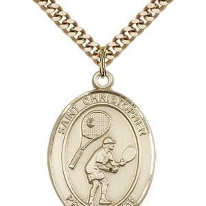 Christopher Tennis Medal Large - 14 Karat Gold Filled (#85858)