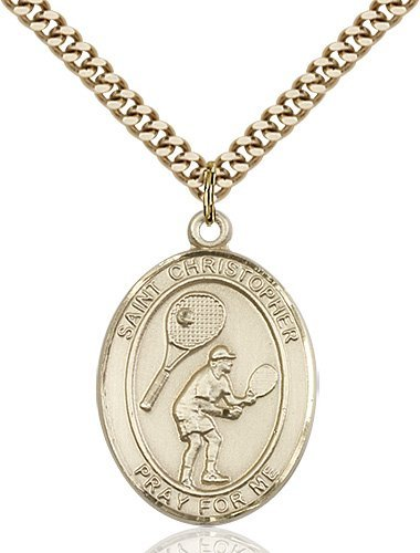 Christopher Tennis Medal Large - 14 Karat Gold Filled (#85858)