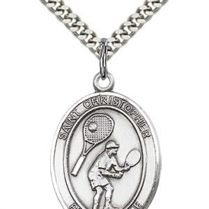 Christopher Tennis Medal Large - Sterling Silver (#85861)