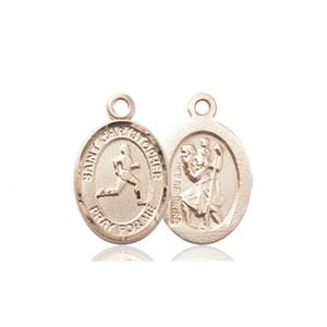Christopher Track Field Medal Charm 14 Karat Gold 86324