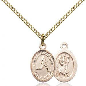 Christopher Track & Field Medal Charm - 14 Karat Gold Filled (#86322)