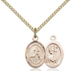 Christopher Track & Field Medal Charm - 14 Karat Gold Filled (#86322)