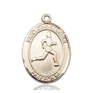 Christopher Track & Field Medal Large - 14 Karat Gold (#85698)