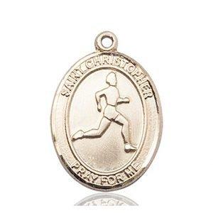 Christopher Track & Field Medal Large - 14 Karat Gold (#85698)