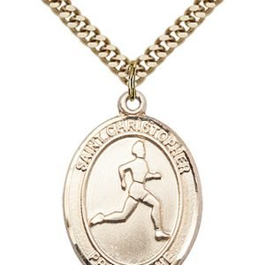 Christopher Track Field Medal Large 14 Karat Gold Filled 85696