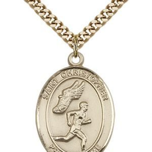Christopher Track Field Medal Large 14 Karat Gold Filled 85874