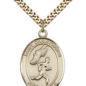 Christopher Track Field Medal Large 14 Karat Gold Filled 85874