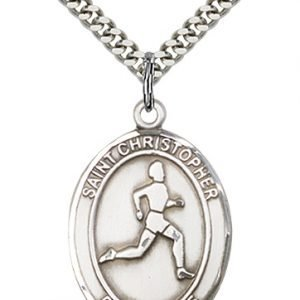 Christopher Track Field Medal Large Sterling Silver 85699