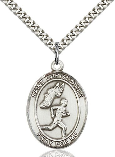 Christopher Track Field Medal Large Sterling Silver 85877