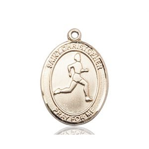 Christopher Track & Field Medal Medium - 14 Karat Gold (#85972)